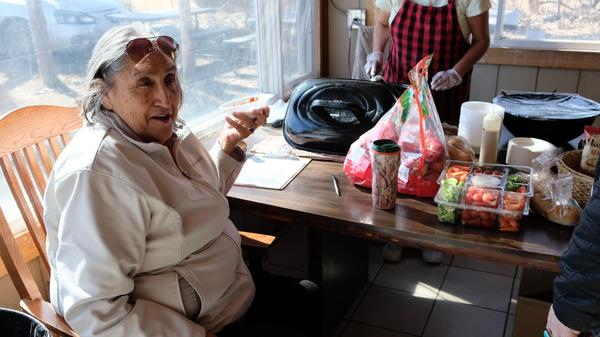 Peggy Wellknown Buffalo eats at Center Pole, her nonprofit on the Crow reservation.