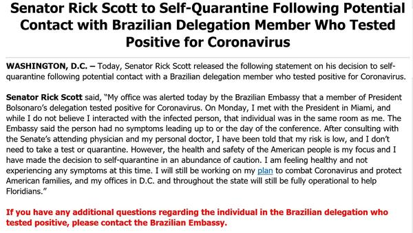 U.S. Sen. Rick Scott's Twitter message about his self-quarantine.