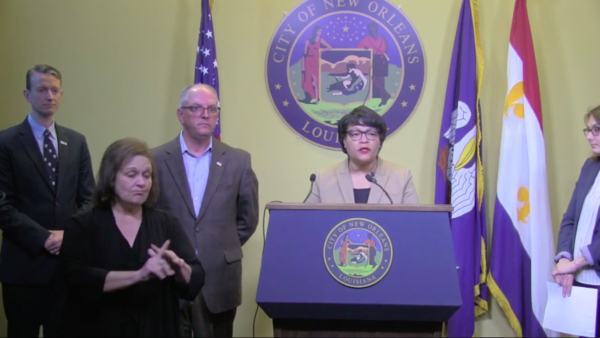 Mayor LaToya Cantell speaks at a press conference March 13, 2020.