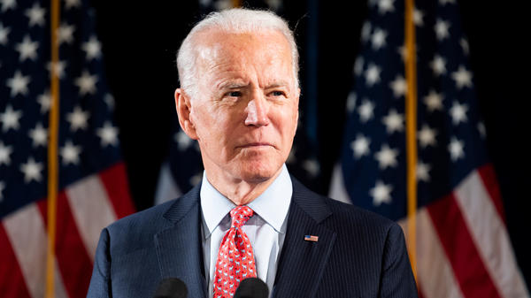 Former Vice President Joe Biden speaks about the Coronavirus in Wilmington, Del., on Thursday.