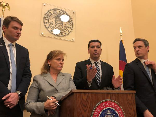 Colorado's Democratic party leaders talk about their plans to take a two-week recess at the state Capitol because of the threat from the coronavirus.