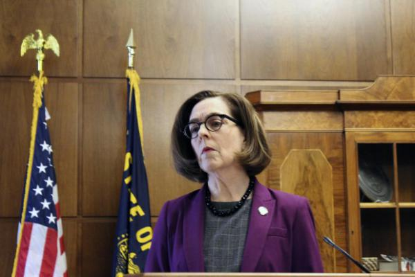 <p>Gov. Kate Brown&nbsp;at a news conference Monday, Feb. 24, 2020 in Salem, Ore.</p>