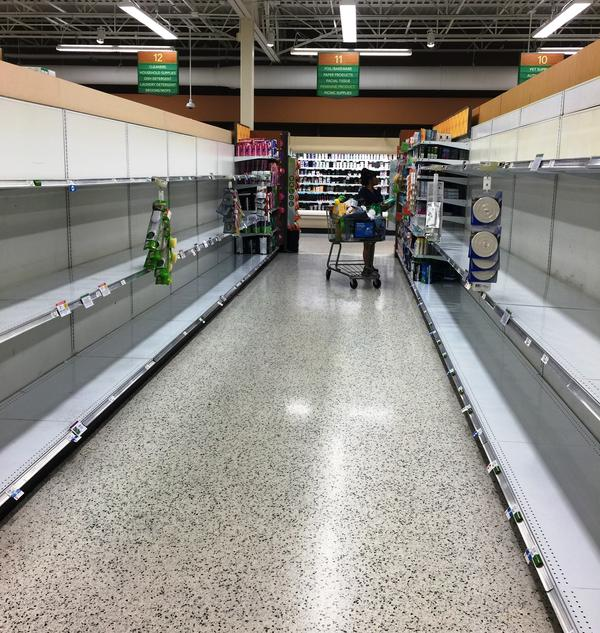 Toilet paper was gone from the shelves at the Publix on South Dale Mabry and West Neptune Street in South Tampa earlier this week.