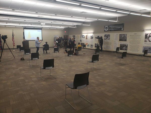 Summit County's Public Health Department modeled social distancing in the chair arrangement at a briefing Thursday about the first confirmed case of COVID-19 in the county.
