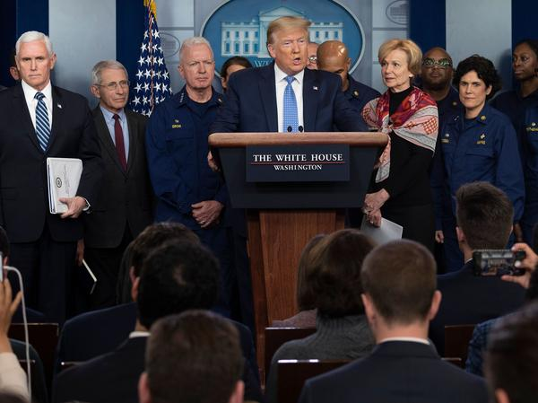 President Trump speaks during a press briefing about the coronavirus alongside Vice President Pence and members of the Coronavirus Task Force at the White House on March 15, 2020.