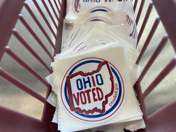 """A stack of Ohio's newest """"I Voted"""" stickers sit in a basket at the Franklin County Board of Elections office in Columbus."""