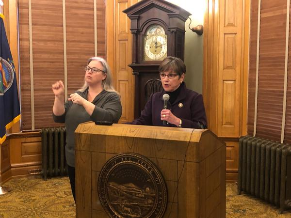 Kansas Gov. Laura Kelly said she's looking to have a panel of K-12 educators think about contingency plans as the new coronavirus spreads.