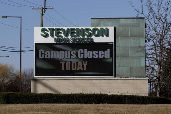 Stevenson High School is closed in Lincolnshire, Ill., Friday, March 13, 2020. (Nam Y. Huh/AP Photo)