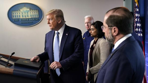 President Trump arrives to speak at a news briefing with the coronavirus task force on Monday in the White House press briefing room.