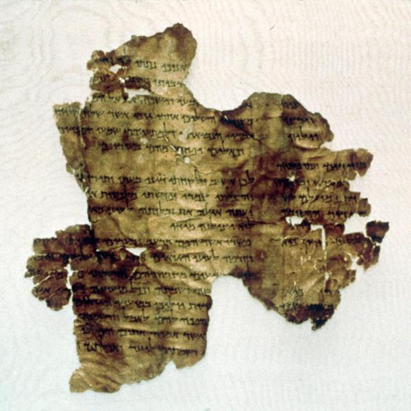 An authentic 2,000-year-old scroll fragment found at Qumran near the Dead Sea.