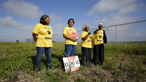 From left, Myrtle Felton, Sharon Lavigne, Gail LeBoeuf and Rita Cooper, members of RISE St. James, on property where Formosa Petrochemical wants to build a plastics complex in St. James Parish, La. Archaeologists have found the land may include up to seven slave cemeteries.