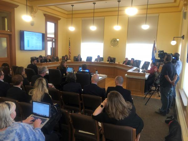 State lawmakers discuss the budget forecast on Monday, March 16, 2020.