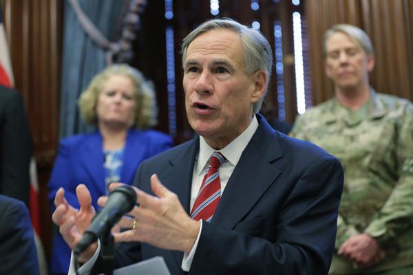 Texas Gov. Greg Abbott gives an update on the coronavirus at an earlier press conference on March 13, 2020.