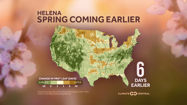 Climate Central looked back five decades and found that spring temperatures in Montana had warmed two degrees over the past 50 years.