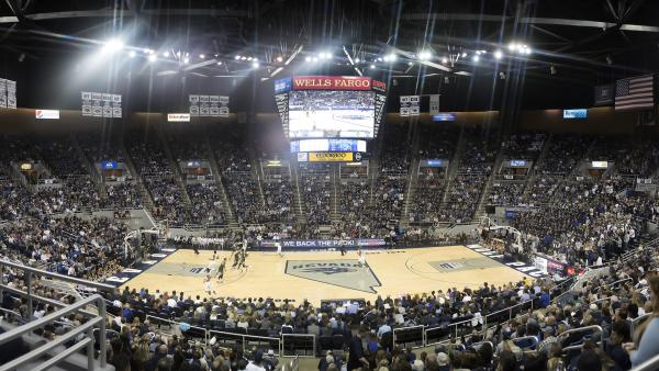 Collegiate basketball games, like this one at Lawlor Events Center in Reno, Nev., have been canceled due to concerns over the coronavirus pandemic.