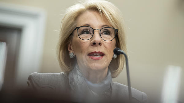 U.S. Education Secretary Betsy DeVos testifies at a Feb. 27 hearing on Capitol Hill.