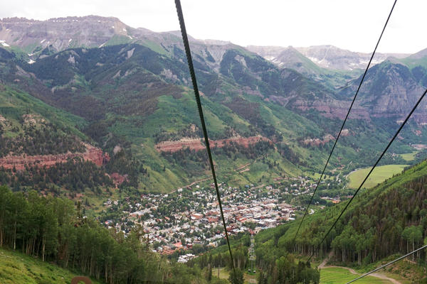 A view of downtown Telluride from a gondola in 2019.