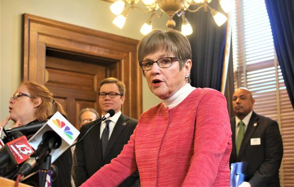 KS Gov. Laura Kelly at a Statehouse news conference at which she outlined steps aimed at helping small businesses that have shut down in an attempt to slow the spread of the coronavirus.
