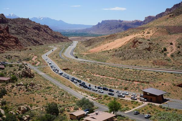 Daily visitation at Arches National Park averaged between 1,500 and 2,000 cars in March 2016. The park welcomed around 1,900 cars on Sunday, March 15, 2020.