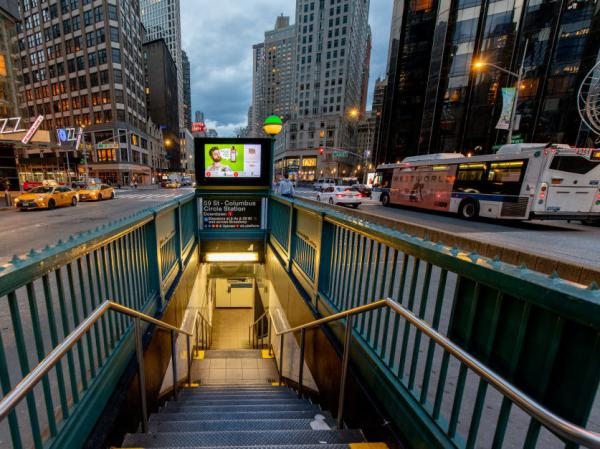 A subway station in Midtown Manhattan is empty. The state of New York has issued a stay-at-home order as of Friday.