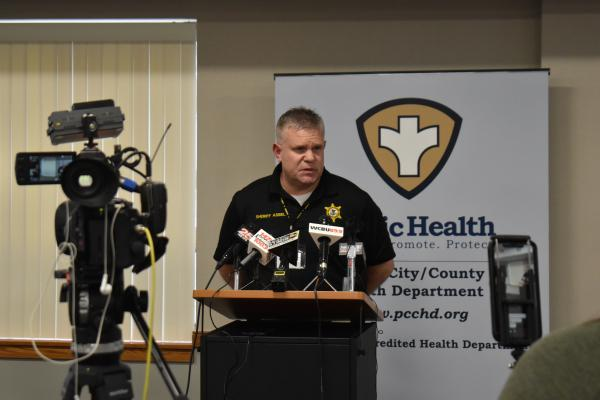 Peoria County Sheriff Brian Asbell addresses the media on March 20, 2020.