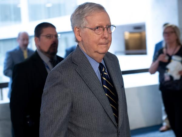 Senate Majority Leader Mitch McConnell, R-Ky., arrives on Capitol Hill to attend a meeting to discuss a potential economic bill in response to the coronavirus on March 20, 2020.