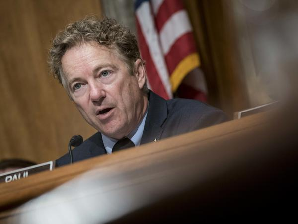 Sen. Rand Paul, R-Ky., has tested positive for the coronavirus. Above, Paul delivers a statement before the Senate Homeland Security and Governmental Affairs Committee on Feb. 11.