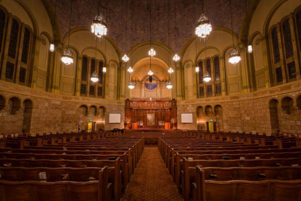 <p>An empty interior of the Temple at Congregation Beth Israel in Portland, Ore.</p>