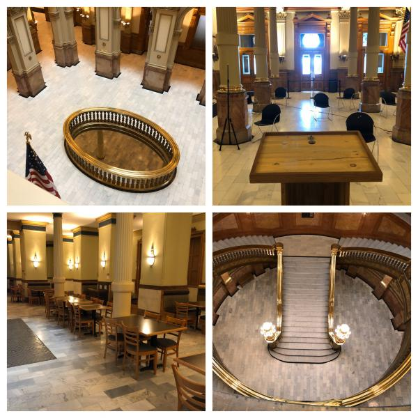 An assortment of pictures from the Colorado state Capitol building on Thursday, March 19, 2020. The building is closed to the public during the COVID-19 pandemic. Polis said more state employees will start working from home.