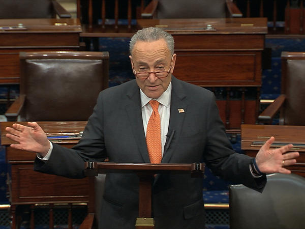 In this image from video, Senate Minority Leader Chuck Schumer speaks on the Senate floor on Saturday.