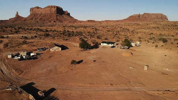 A cluster of houses near Oljato-Monument Valley, which spans the Utah-Arizona border.