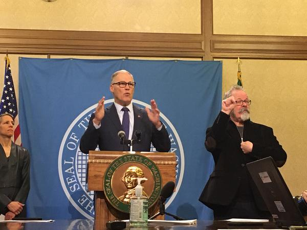 In this file photo, Gov. Jay Inslee holds a news conference on the coronavirus outbreak. On Friday, his chief of staff said the governor has no imminent plans to issue a shelter-in-place order.
