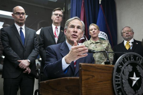 Texas Gov. Greg Abbott speaks to the media at a news conference regarding COVID-19 on Feb. 27.