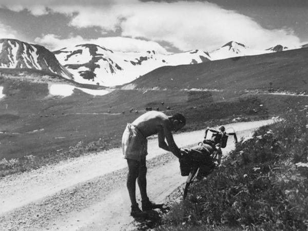 Jacques Enoch with his bike in the Alps in 1941. Danièle Enoch-Maillard's father, who was Jewish, survived World War II in an Alpine village with the help of a deputy mayor and a postal worker who sent smoke signals every time the Nazis headed up the mountain road to the hamlet.
