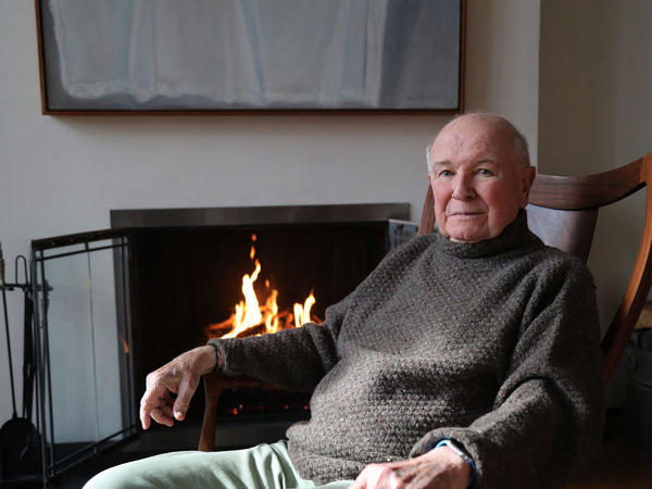 A portrait of playwright Terrence McNally, taken in his home in New York City on March 2. McNally died of complications related to coronavirus on Tuesday.