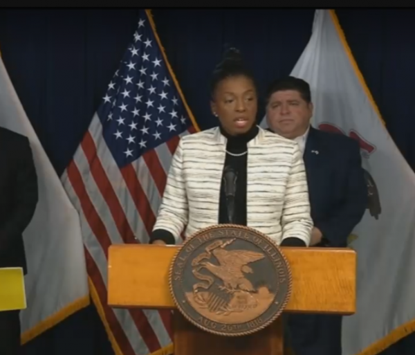 Dr. Ngozi Ezike speaks Tuesday at the governor's daily press briefing on the COVID_19 outbreak.