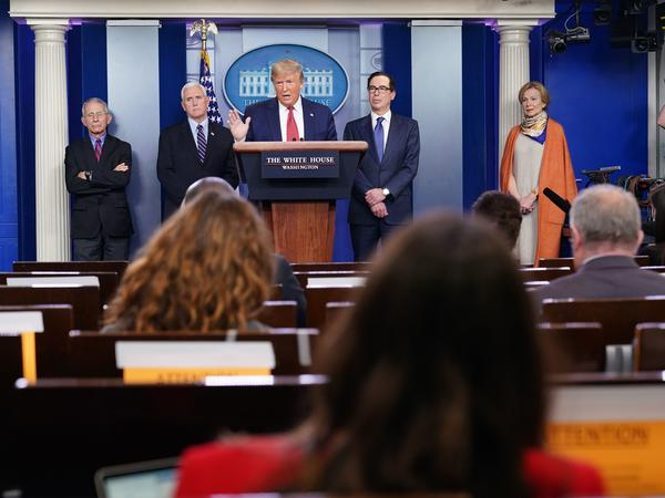 President Trump speaks during the daily briefing on the novel coronavirus at the White House Wednesday.