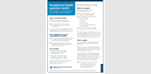 Information from the Washington Employment Security Department on filing for unemployment benefits due to COVID-19