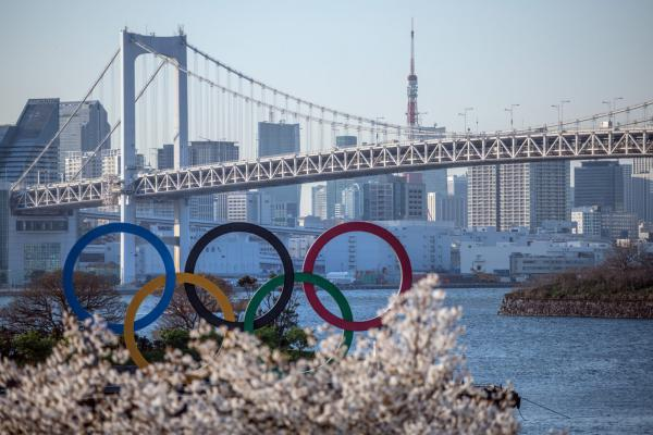 The Tokyo 2020 Olympic Rings are displayed in Tokyo, Japan.