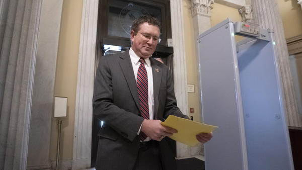 Rep. Thomas Massie, R-Ky., pictured in December 2019, tried to delay a House vote on the coronavirus rescue package by forcing members to vote on the floor.