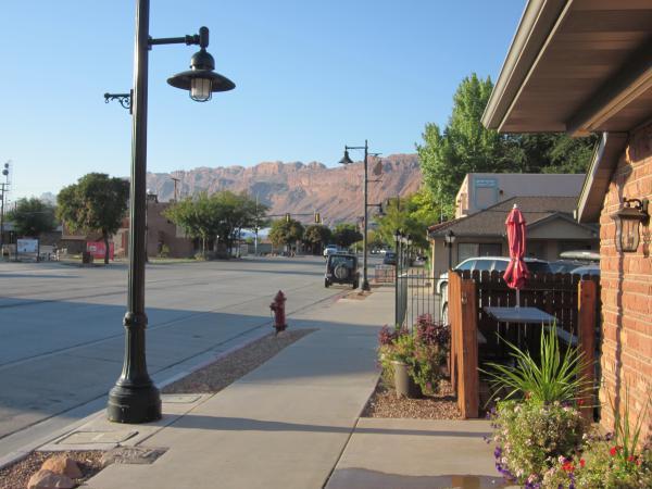 Main Street, looking south toward Canyonlands National Park, in Moab, Utah.