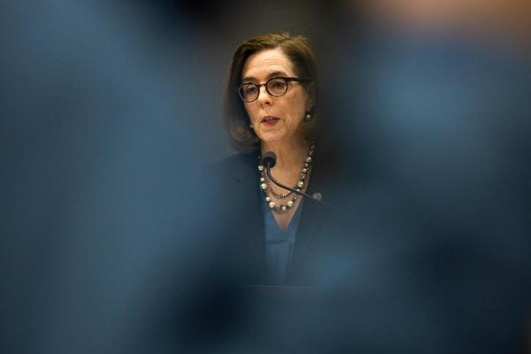 <p>Oregon Gov. Kate Brown speaks at a press conference in Portland, Ore., Friday, March 20, 2020. Brown put in a request to the federal government for more PPE, but had only received 25% of it as of Wednesday.</p>