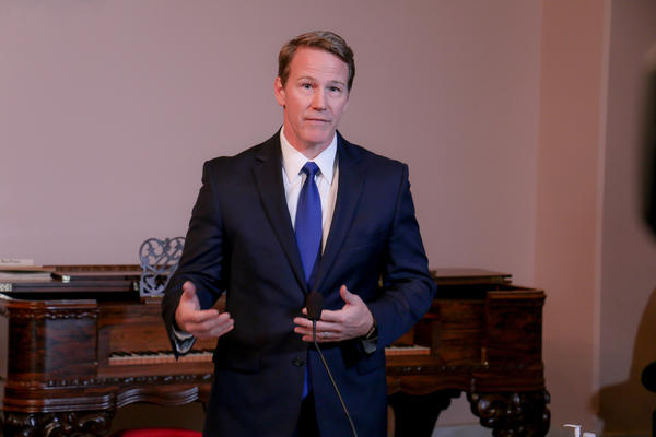 Lt. Gov. Jon Husted speaks at the daily coronavirus news conference on Friday, March 28.