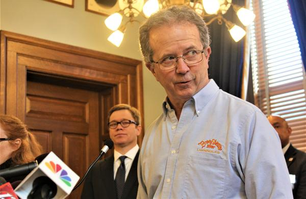 Chuck Magerl, owner of the Free State Brewing Co. in Lawrence, talks about the impact of the coronavirus on Kansas businesses at a recent news conference at the Kansas Statehouse.