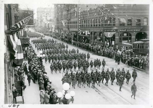 An undated photo of military parade in downtown Spokane in 1918.