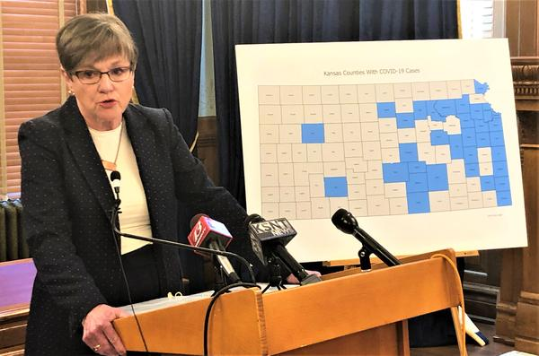 Kansas Gov. Laura Kelly explains her decision to mandate a statewide stay-at-home order on Saturday. The map shows the counties that have confirmed coronavirus cases.