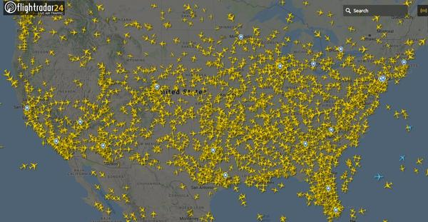 With the coronavirus outbreak taking hold in the U.S., thousands of flights have been canceled — but on Sunday, there were still 2,800 planes in the air, according to aviation site Flightradar.com
