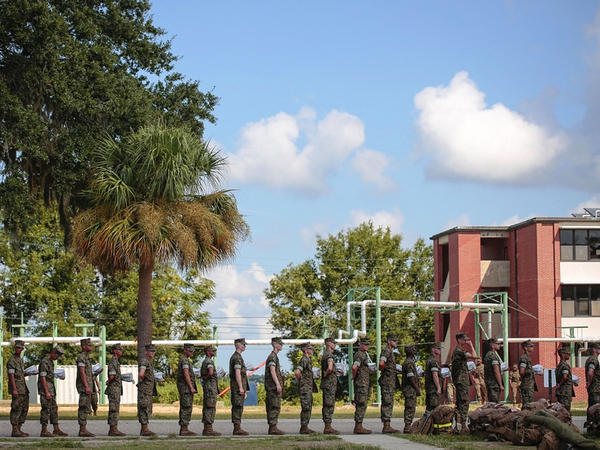 U.S. Marine Corps recruits at Parris Island shown in 2018. The Marine Corps announced Monday that it was suspending shipments of marines for basic training to Parris Island over concerns about coronavirus infections there.