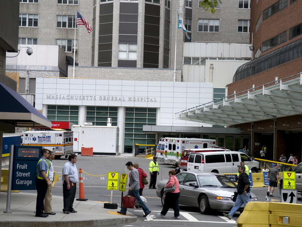 Massachusetts General Hospital, seen here, confirmed to NPR on Monday afternoon that 115 of its staff members have tested positive for COVID-19.