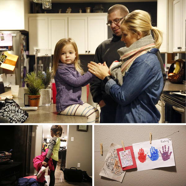 (Top) Ryan and Dawn Kress with their youngest daughter Reagan. (Bottom left) Kading, 5, gets ready for school. (Bottom right) The girl's artwork on the wall in the Kress home near Independence, Iowa.